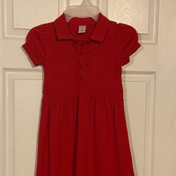 Gymboree Classic Girls Dress red apple buttons